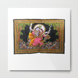 Lord Krishna & Goddess Radha Sequin Sitara Batik Tapestries Metal Print