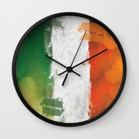 ruben ireland Wall Clocks featuring Ireland by Fresh & Poppy