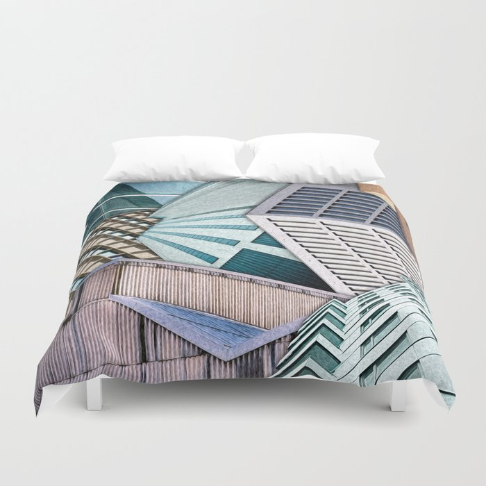 City Buildings Abstract Duvet Cover