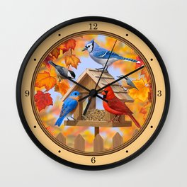 Autumn Bird Feeder Gathering Wall Clock