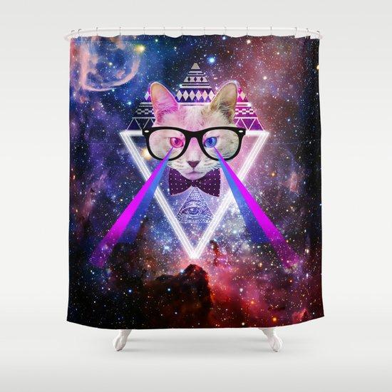 Galaxy Cat Shower Curtain By Grafik Prod
