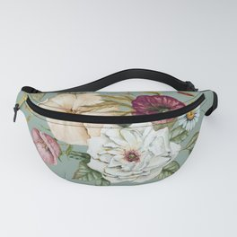 Colorful Wildflower Bouquet on Blue Fanny Pack