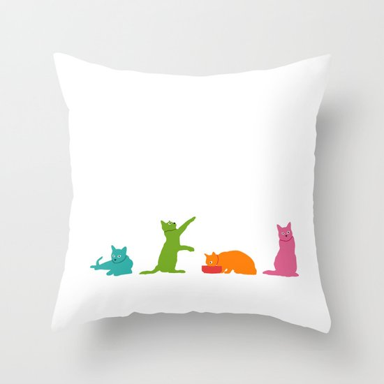 Cats Multicolor Throw Pillow