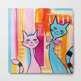 Smiling Cats Metal Print