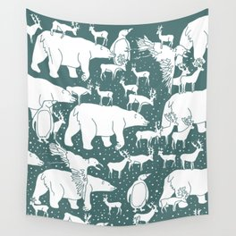 Polar gathering (emerald) Wall Tapestry
