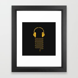 Gold Headphones Framed Art Print