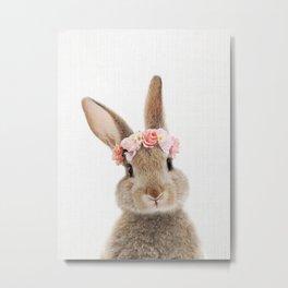 Rabbit with Flower Crown Metal Print