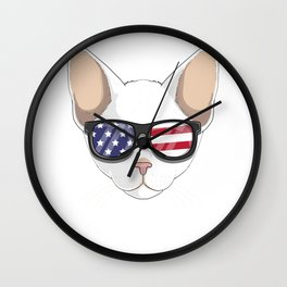Patriotic Cornish Rex Cat Kitty Merica American Flag Wall Clock