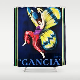 Vintage Gancia Gran Spumante Dry Lithograph Advertising Wall Art Style #1 Shower Curtain