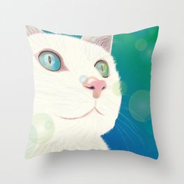 Odd-eyed White Cat Throw Pillow