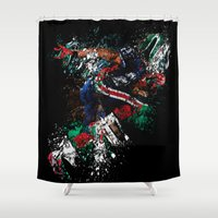 football Shower Curtains featuring Football Player by ron ashkenazi