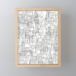 Russian cathedral church line drawing Framed Mini Art Print