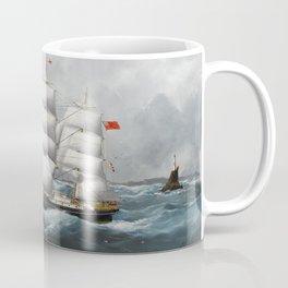 Vintage British Frigate Sailboat Painting (1881) Coffee Mug
