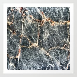 Gray Slate Marble Pattern With Pastel Copper Veins Art Print