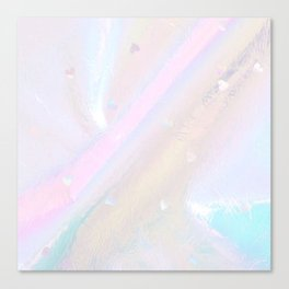IRIDESCENT WHITE HEARTS Canvas Print