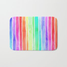 Bright Rainbow Colored Watercolor Paint Stripes Bath Mat