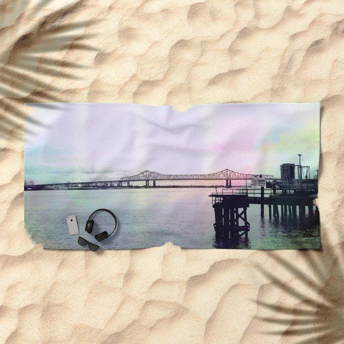 Crescent Connection Bridge with Dock Beach Towel