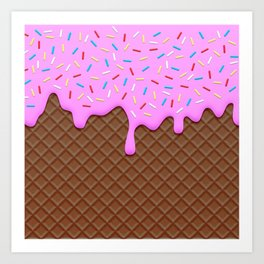 Chocolate and Strawberry Icecream Art Print