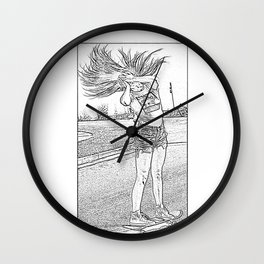 Black and White Hair Flip Wall Clock