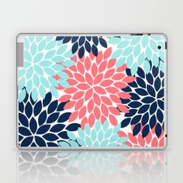 Navy Coral Aqua Floral Pattern Flower Burst Petals Laptop & iPad Skin