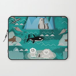 Arctic animals teal Laptop Sleeve