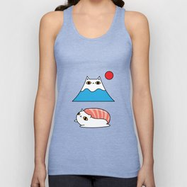 Mount Fuji, Sushi and Taiyaki White Cat Pattern Unisex Tank Top
