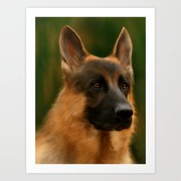 german shepherd Art Prints featuring German Shepherd  by Becky's Digital Art