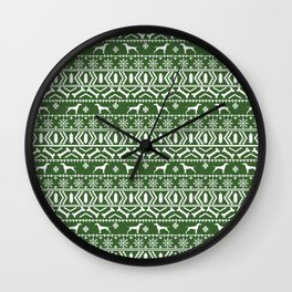 Vizsla fair isle green and white christmas holidays dog breed pet art dog pattern Wall Clock