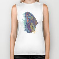 butterfly Biker Tanks featuring Butterfly Life Cycle by Rachel Caldwell