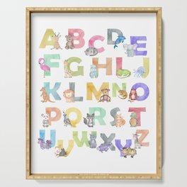 Watercolor Alphabet Animals Serving Tray