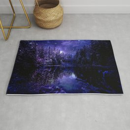 Winter Forest Deep Purple Indigo Blue Rug