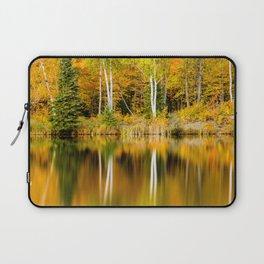 Autumn Reflections - Birch trees on Lake Plumbago Laptop Sleeve