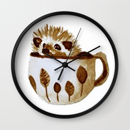 Hedgehog in a Cup Painted with Coffee Wall Clock