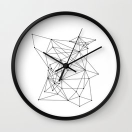 White Geometric Dots and Lines Wall Clock