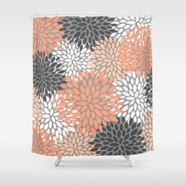 Floral Pattern, Coral, Gray, White Shower Curtain