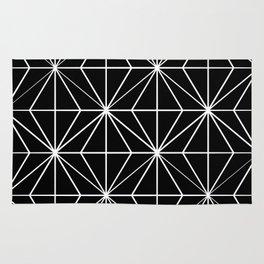 Geometric Pattern Black and White Rug