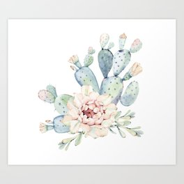 Perfect Cacti Rose Art Print