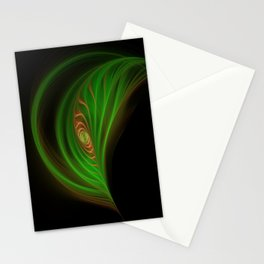 Gold Green Peacock Feather Stationery Cards