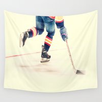 sport Wall Tapestries featuring The Sport Of Hockey by Karol Livote
