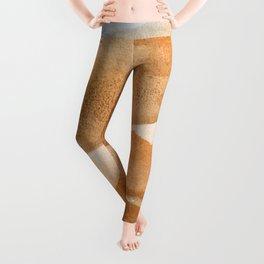 Beautiful watercolor orange colors brushstrokes Leggings