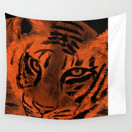 Tiger with Orange Background Wall Tapestry