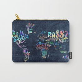 world map typography watercolor 4 Carry-All Pouch