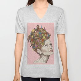 Hair Garden // twiggy with the cool hair Unisex V-Neck