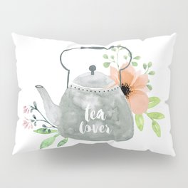 Watercolor Flower Teapot Pillow Sham