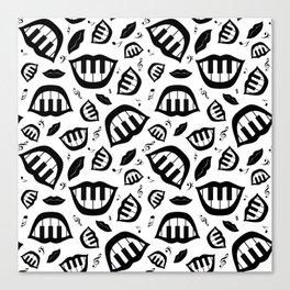 Piano smile pattern in black&white Canvas Print