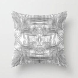 psychedelic graffiti skull art abstract in black and white Throw Pillow