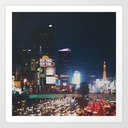 night time on the Las Vegas strip ... Art Print