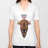 bison V-neck T-shirts featuring bison by Manoou