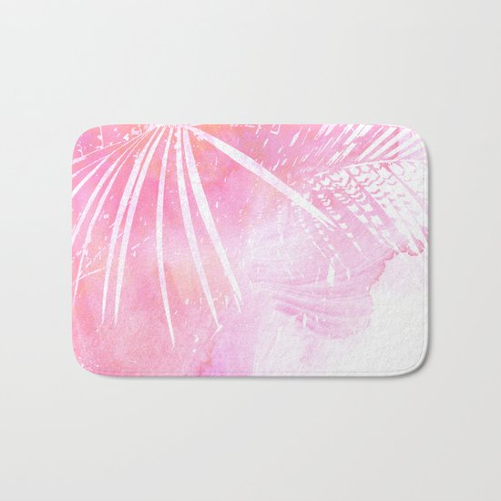 Abstract Pink Palm Tree Leaves Design Bath Mat