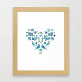 Scandi Folk Birds - blue & white Framed Art Print